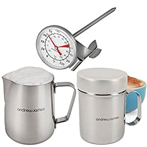 Andrew James Cafe-Style Barista Coffee Making Set in Stainless Steel, Contains Milk Thermometer/Frother, 550ml Jug and Chocolate Shaker