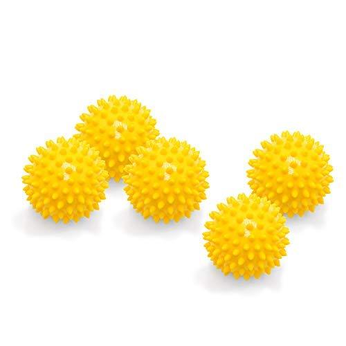 5er PACK | Massagebälle mit Noppen | Noppenbälle | Igelbälle | Arthro Sensorik Ball | Nicht aufgepumpt! | Härte kann selbst variiert werden | Durchmesser 7 cm | gelb