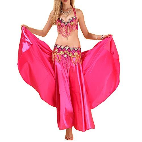 Yudesun Costume Vestito Abito Donna - Abbigliamento Danza del Ventre India Completo Reggiseno Colore Solido Vestito di Ballo Nazionale Indiano Chiffon