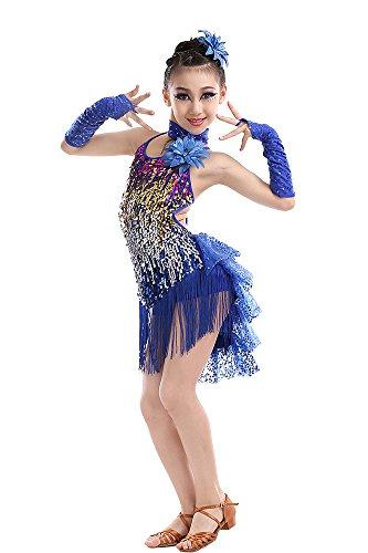 (BOZEVON Kinder Mädchen Lateinamerikanischer Tanz lateinische Salsa Tango Ballsaal Tanzkleidung Troddel Tanzkostüme)