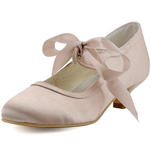 Elegantpark EP41017 Raso Punta Rotonda Nastro Tacco Medio scarpe a Tacco da sposa Ballo Champagne 43