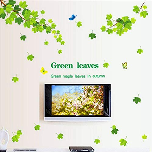 ZHOUHAOJIE Pflanzen Wandaufkleber Grüne Blatt Fallen 3D Wandaufkleber Dekoration Baum Aufkleber Abnehmbare Hintergrund Grün 60 * 90 cm