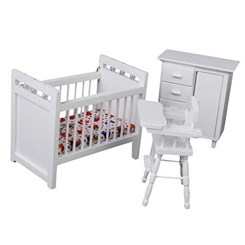 Puppenhaus Miniatur Möbel Aus Holz Baby Schlafzimmer Eingerichtet 1/12 Weiß