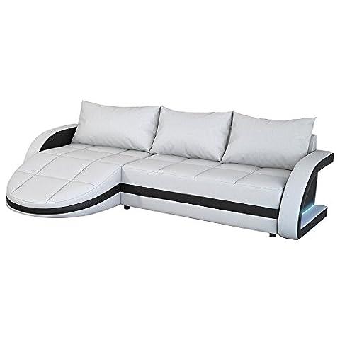 Eck-Sofa weiß-schwarz in Leder-Optik: Edle Designer Couch mit LED, großer 3 Sitzer, 265 cm breit, Leder-Sofa mit 156 cm tiefer Recamiere / Ottomane, links & rechts montierbar | Wohnlandschaft | Made in