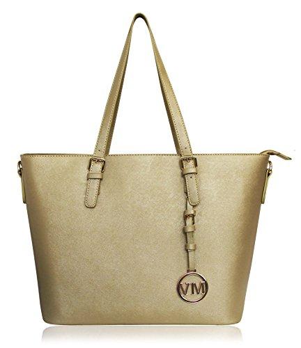 VANESSA & MELISSA Damen Handtasche PU-Leder Shopping Bag Gold