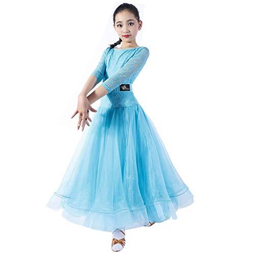 Ballsaal-Kleider Für GILR Lace Long Sleeves , Lyrical Dancewear Kostüm Für Ballsaal-Zeremonien Performance Performance (Farbe : Lake Blue, größe : M)