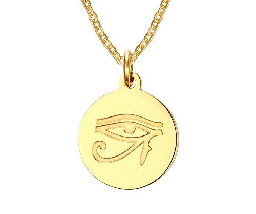 Vnox Edelstahl 18K Gold überzogenes altes ägyptisches Auge von Horus hängende Halskette,freie Kette -