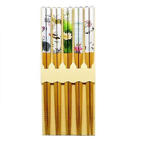 Ukainiemai 5 pares de palillos asiáticos flores japonesas palillos peces de colores Juego de regalo de los palillos chinos estilo (Flower)