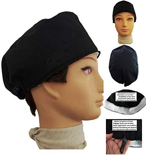 Chirurgische Kappe. schwarz für kurze Haare. Frau und Mann, Chirurg, Zahnarzt, Tierarzt, Küche, Industrie usw. Handtuch auf der Stirn, verstellbarer Spanner auf der Rückseite. Handmade (Caps Tierarzt)