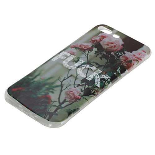 iPhone 7 Plus Custodia Cover Silicone,Slynmax Sottile TPU Case Morbido Flessibile Gel Transparent Silicone Bumper Protettivo Skin per iPhone 7 Plus Slim Cover Trasparente Caso Chiaro Cristallo Colorat Rose-fuck