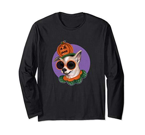 Halloween Hund / süße Chihuahua Kürbis Kostüm Hut Langarmshirt