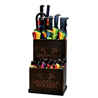 WEN Umbrella Stand Wrought Iron Indoor Detachable Tray Umbrella Organizer Storage Bucket 20.5x13.8x9.4
