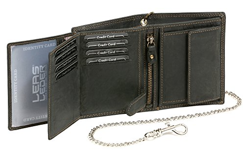 Bikerkombibörse im Hochformat mit Chrom-Kette LEAS MCL im Vintage-Stil in Echt-Leder, schwarz - ''LEAS Chain-Series'' - 3
