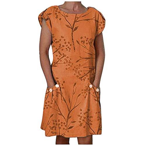 Damen Lässige Kurzarm Kleid, Selou O-Neck Button Blumenkleid mit Tasche Mädchen Rockabilly Abschlussball Vintage Hochzeit Festliche Elegante Bodycon Partykleid -
