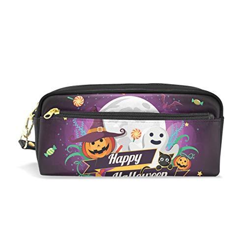 (Federmäppchen mit Reißverschluss, große Make-up-Tasche, Halloween-Zeichen, Bleistifttasche für Jungen und Mädchen, Schulbedarf)