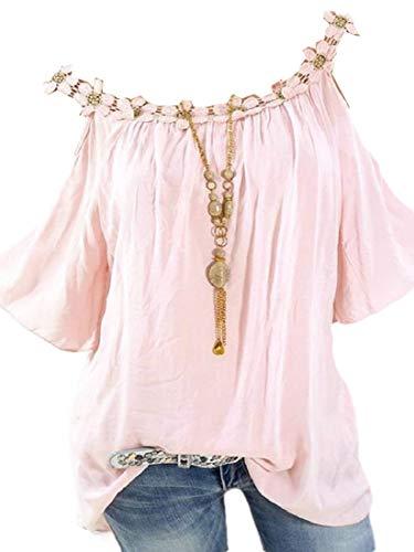 CuteRose Women's Solid Crew-Neck Off The Shoulder Summer Blouse Tee Shirt Pink 2XL (Western Shirt 4x)