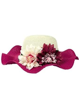 Autek cap Version coréenne de la simulation de fleurs forêt du vent plage d'été chapeau chapeau de soleil dame(603) (fuchsia)