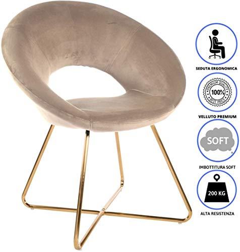 Montemaggi poltrona imbottita circolare in velluto beige con gambe in ferro dorato 71x59x84 cm velluto premium con imbottitura super confortevole e seduta ergonomica.