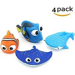 Jouets de bain bébé, trouver Dory Nemo squirt jouets pour bébé et enfant en bas âge jouets douche et natation 4pcs (enfants)