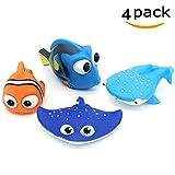 ALLCELE Babybade-Spielzeug, Finden Dory Nemo Squirt Spielzeug Für Baby & Kleinkind Dusch Spielzeug und Schwimmen 4 Stück EINWEG