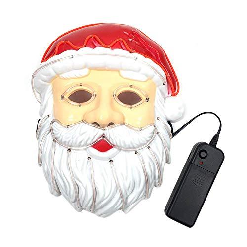 Rejoicing Freut Sich Santa Claus EL Draht Maske Blinkende Cosplay LED-Lichtmaske Kostüm anonym Maske für glühende Tanz Karneval Party Masken - Santa Claus Tanz Kostüm