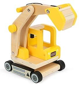 Small Foot 12010 - Pala Excavadora de Madera, certificación FSC, Brazo de Excavadora móvil, Giratorio 360 Grados, para la construcción de casa, Juguete, Multicolor