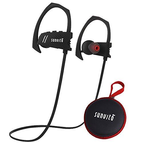Sunvito Bluetooth Kopfhörer IP4 wasserdichte Sport-Earbuds V4.1 Wireless In-Ear Noise Cancelling Stereo-Kopfhörer mit MIC & Sichere Ohrbügel -Design für Lauftraining Gym (schwarz) (Ohrbügel Kopfhörer Wireless)