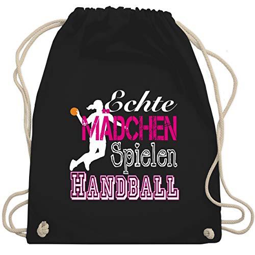 Handball - Echte Mädchen Spielen Handball weiß - Unisize - Schwarz - WM110 - Turnbeutel & Gym Bag
