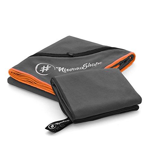 2er-Set Premium Mikrofaser Handtücher | 60x120 + 40x60 cm | saugfähig, leicht und schnelltrocknend | Sport- und Badehandtücher mit Ecktasche | Ideal für Fitness, Yoga, Sauna, Outdoor, Reise