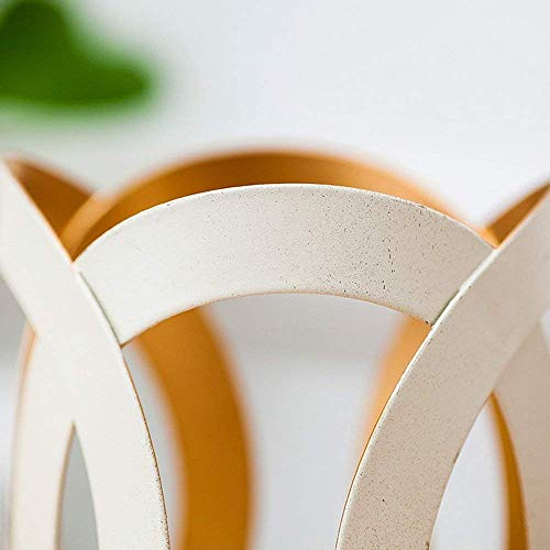 XQY Retro Kerzenhalter Dekoration Kerzenhalter Eisen und Glas Material Weiß Romantische Mode Haushaltsartikel Zwei Größen,8,5 * 12 cm