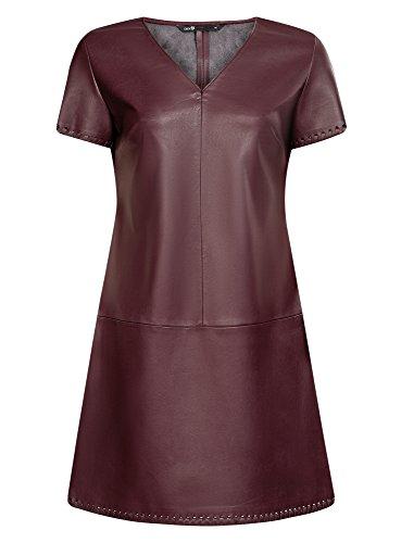 oodji Ultra Damen Kurzarm-Kleid in Lederoptik, Rot, DE 36 / EU 38 / S (Neuheit-damen-rock)