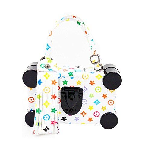 GSHGA Womens Clutch Taschen Mode Individualität PU Leder Printing Abendtaschen Schulter Crossbody Handtasche,White