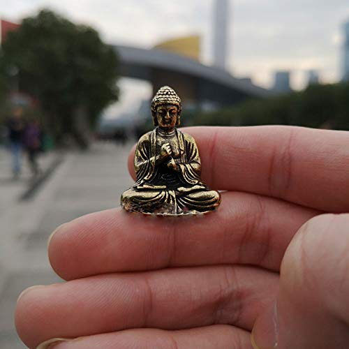 QWERWEFR Mini Tragbare Vintage Messing Buddha Statue Tasche Sitzen Buddha Figur Skulptur Home Office Schreibtisch Dekorative Ornament Spielzeug Geschenk,Black