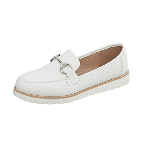Ital-Design Mokassins Damen-Schuhe Moderne Halbschuhe Weiß, Gr 39, A-185-