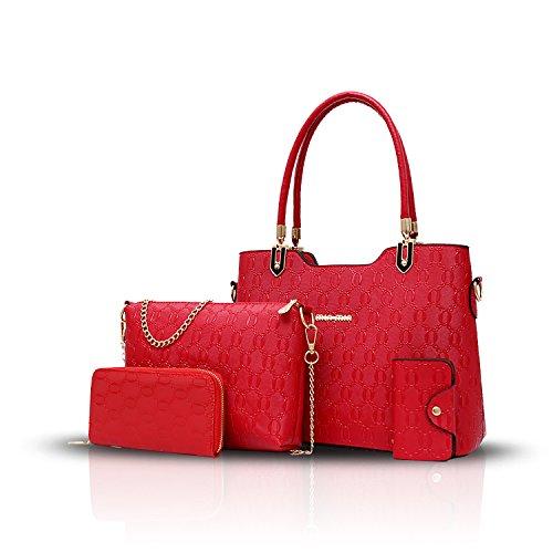 Sunas 2017 le nuove donne delle borse delle donne 4 insiemi del raccoglitore diagonale della borsa del pacchetto di spalla di temperamento del sacchetto delle donne rosso