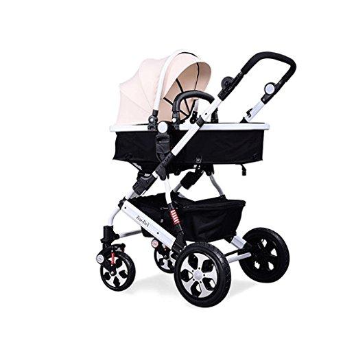 Falten Sie Unten (HJHY® Baby-Wagen, Hochlandschaft Baby-Wagen können sitzen Legen Sie unten Licht Falten Vier Runden Wagen Dämpfung Atmungsaktiv, bequem ( Farbe : #5 ))