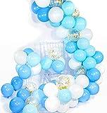 PuTwo Bleu Blanc Ballon, 70pcs 12 Pouces Bleu Ciel Ballon Baudruche Blanc Bleu Pale Ballons Latex pour Decoration Bapteme Garcon, Deco Fete Bleu, Decoration Anniversaire Bleu, Decoration Bleu Blanc