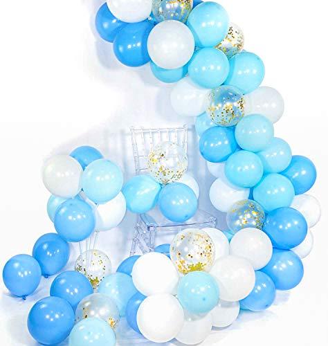 PuTwo Blau Weiße Luftballons 70 Stück Hellblaue Luftballons Pastellblaue Luftballons Luftballons Weiß und Gold Konfetti Luftballons für Baby Shower Junge, Taufdeko Junge, Deko Geburtstag Junge