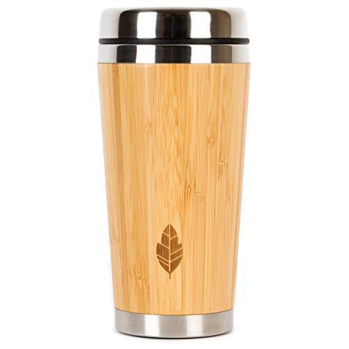 Wood Travel Isolierter Kaffeetasse aus Edelstahl Bambus Becher mit Deckel, Cool Kaffeetassen für Männer, Frauen, Einzigartiges Geschenk, 100% umweltfreundlich und umweltfreundlich, 480 ml