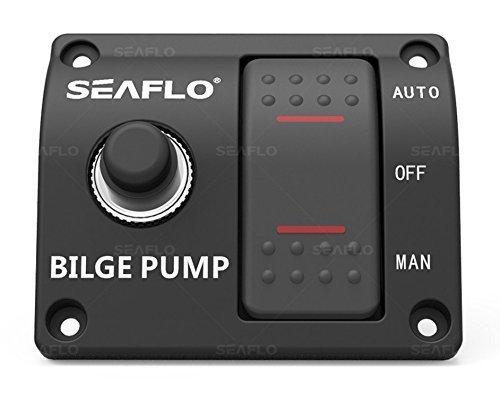 Seaflo Panel de Interruptor de Bomba de achique de 3 vías (Automático-Off-Manual) 12 V 24 V con disyuntor de Circuito Integrado 15 A