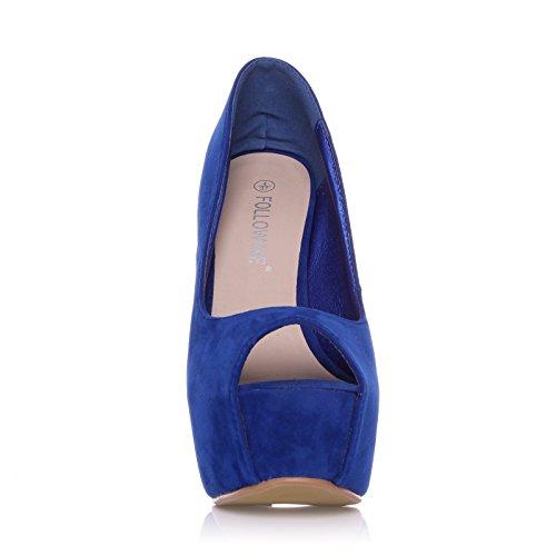 ShuWish UK - Escarpins Plateforme Talon Haut Imitation Daim Bleu Electrique Daim bleu électrique