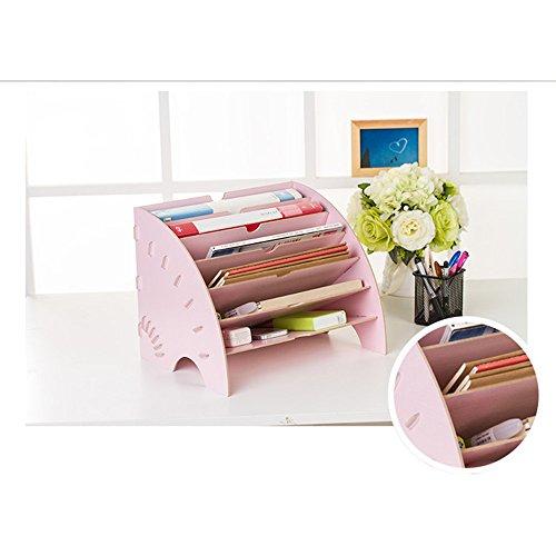 Fächerförmiger Schreibtischordner 6-Fach-Magazinständer,Pink (Pink Office-fach)
