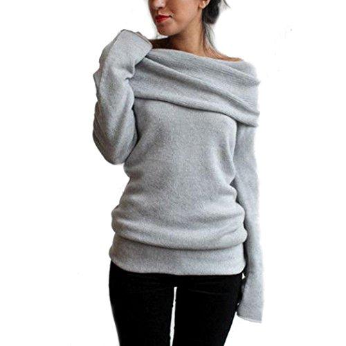 Manica lunga Donne Felpa con cappuccio maglione cappotto incappucciato Pullover Camicia (M, Grigio)