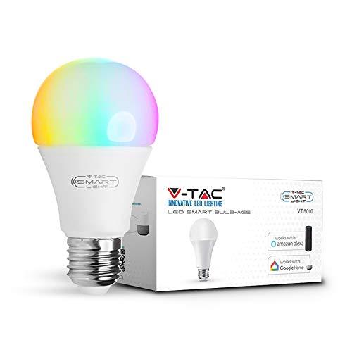 v-tac lampadina LED 9W Smart WiFi, RGB bianco e multicolore, dimmerabile, auto ON/OFF, compatibile con Google e ALEXA Home, no Hub required, E27Edison a vite standard base, Rgb+6000k, E27