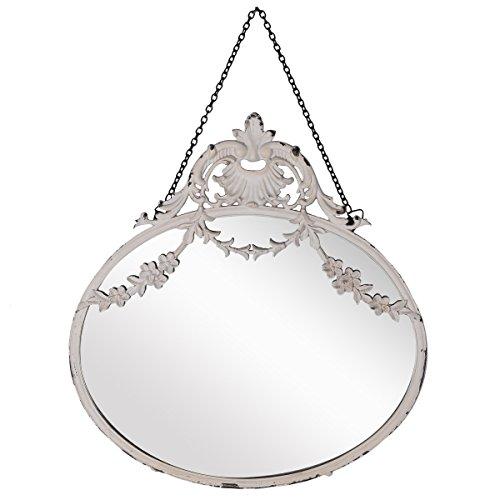 NIKKY HOME - Espejo redondo 26.2 cm para colgar en pared, diseño vintage, para decoración del hogar, color blanco