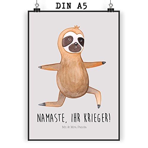 Mr. & Mrs. Panda Poster DIN A5 Faultier Yoga – Faultier, Faultiere, faul, Lieblingstier, Yoga, Namaste, Krieger, Yogaübungen Poster, Wandposter, Bild, Wanddeko, Geschenk