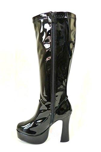 Bottes de go-go pour femme Pour déguisement années 1960/70 Style Rétro Black Patent (11827)