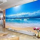 Carta da Parati 3D con Foto Vista Mare Pittura murale Soggiorno Divano Camera da Letto TV Sfondo Carta da Parati Mare Sole Spiaggia Carta da Parati murale, 200Cm (W) X140Cm (H)
