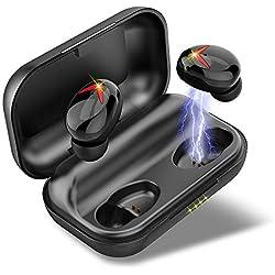 Écouteurs sans Fil, Ecouteur Bluetooth Etanche IPX7 120H Playtime TWS Stéréo AAC 8.0 CVC 8.0 Réduction du Bruit Oreillette Bluetooth 5.0 avec Mic, Hi-FI Deep Bass 3D Son Stéréo, Commande Tactile