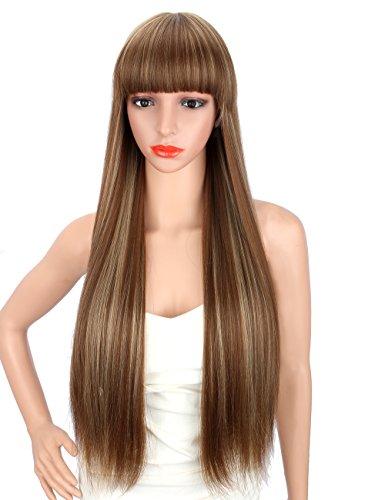 Kalyss 28 Zoll weibliche lange gerade hochwertige synthetische braune Perücke mit blonde Strähnen mit Pony für Frauen